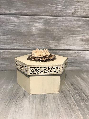 Flowered Octagon Wood Box