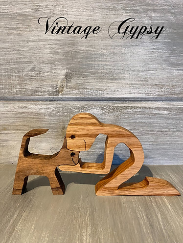 Boy and his Dog - Wood Figurines