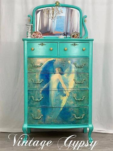 """Antique Tall Dresser """"Golden Angel"""""""