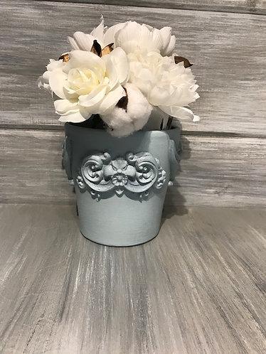 Light Blue Embellished Flower Pot