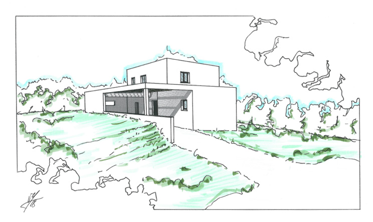 maison moderne toit terrasse végétales 153m2