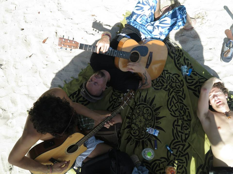 Jamming on the beach