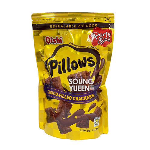 OISHI PILLOWS CHOCO FILLED CRACKERS 150G