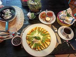 Squash blossom omelette at La Olla
