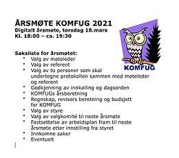 Årsmøte i KOMFUG 18.03.2021