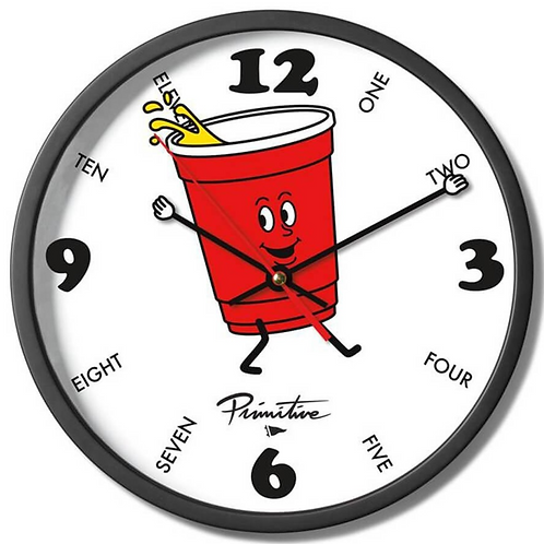 Primitive Red Cup Clock