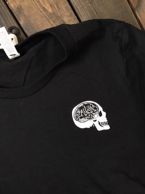 Passion Embroidered Skull Logo Tee Black