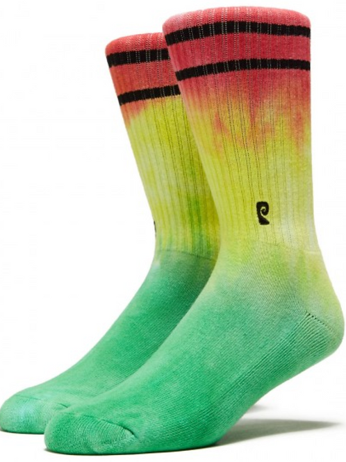 Psockadelic Tie-Dye Green-Yellow-Red Psocks