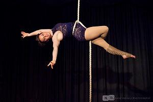 Zoe Sheppard, rope, purple leotard