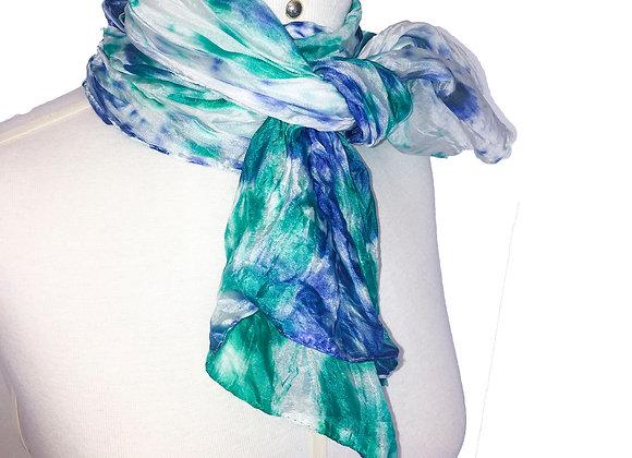 Tie-dye azul royal e verde água