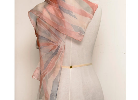 Écharpe rosa coral com cinza