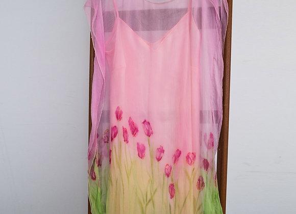 Vestido de festa em chiffon crinkle pintado à mão