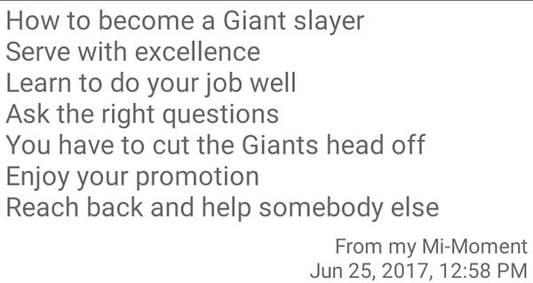 Temple of Faith Deliverance Cogic - How to become a Giant slayer