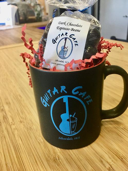 Guitar Cafe mug w/chocolate covered espresso beans