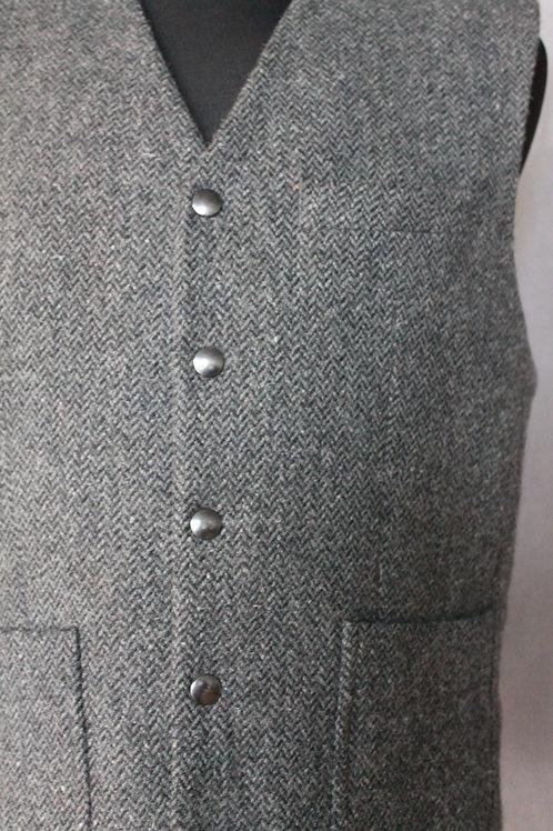 Ullväst i grå, kraftig, fiskbensmönstrat tyg