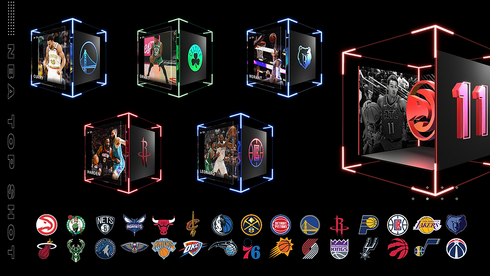 A visual representation of NBA Top Shot Moments.