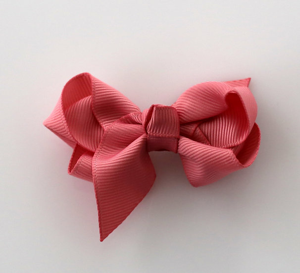 Grosgrain Bow With Integral  Clip Dusty Rose