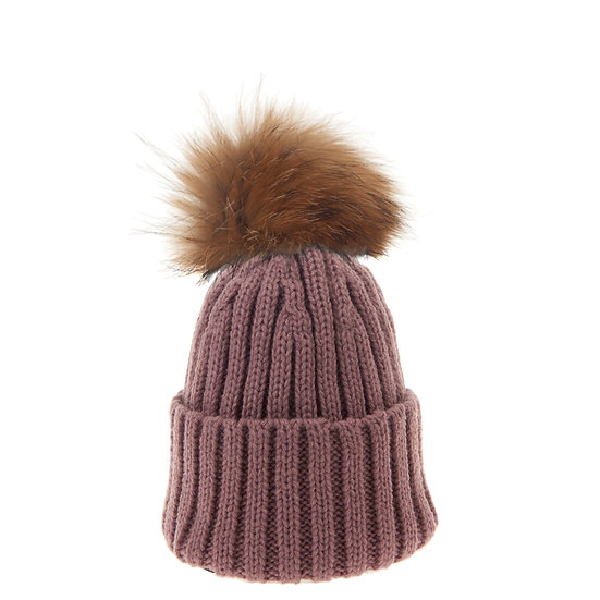 BTZ48 S/M Beanie Bobble Dusty lilac natural pom