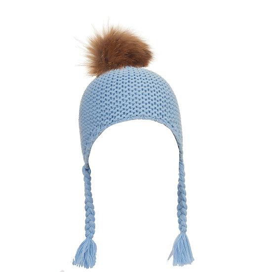 BTZ49 S/M Pom hat with ties blue