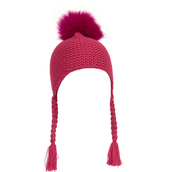 BTZ49 S/M Pom hat with ties Rose Pink