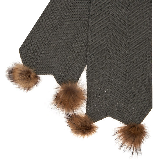 Woollen Scarf With Two Fur Bobbles