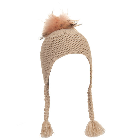 BTZ49 S/M Pom hat with ties beige