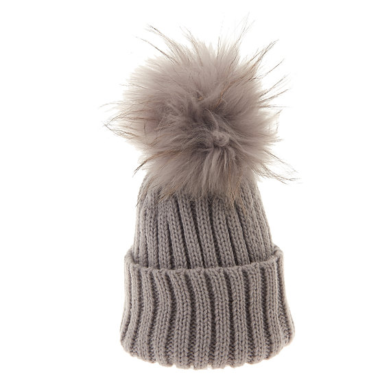 BTZ48 S/M Beanie Bobble Light Grey Pom Pom