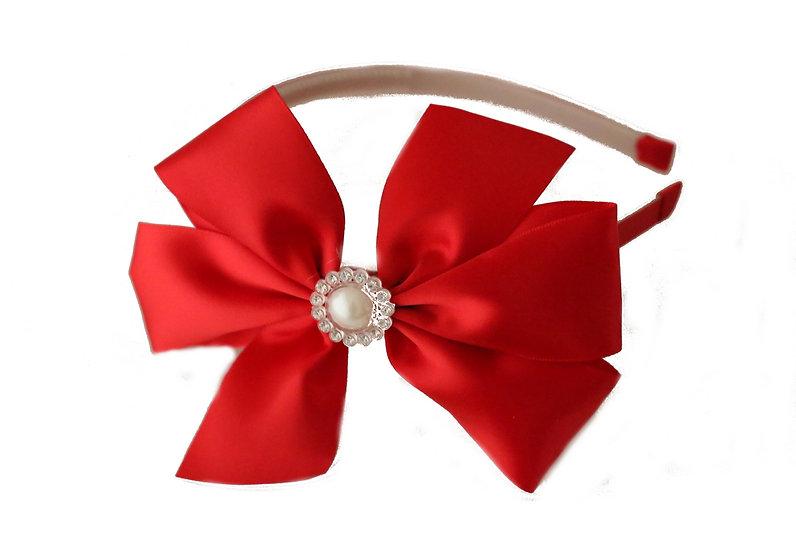 Red Satin & Pearl Headband