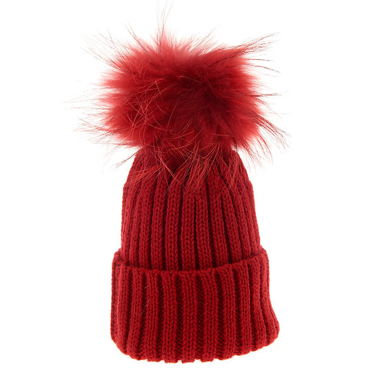 BTZ48 Beanie Bobble Red Dyed pom pom