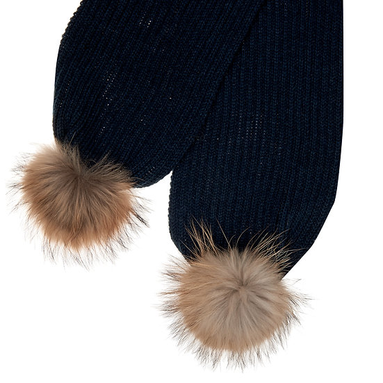Woollen Scarf With One Fur Bobble