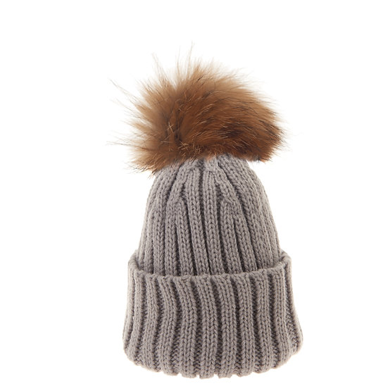 BTZ48 S/M Beanie Bobble Light Grey Natural Pom