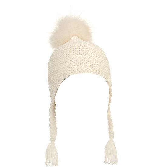 BTZ49 S/M Pom hat with ties white
