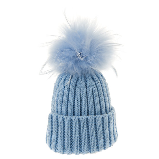 BTZ48 S/M Beanie Bobble Light Blue Pom
