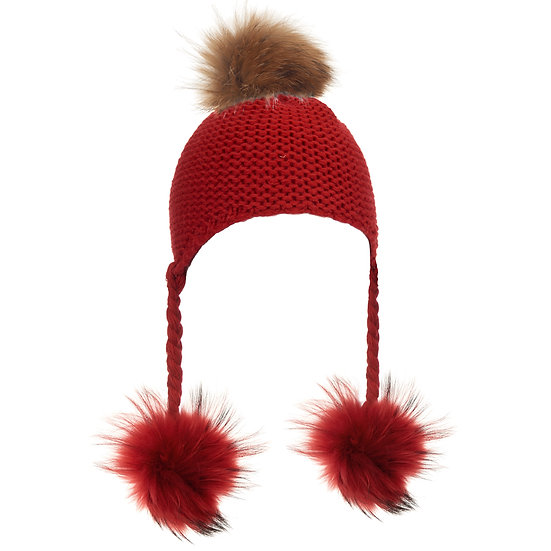 BTZ54 S/M Pom hat with ties red