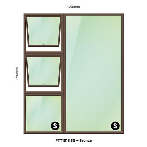 PTT1518 Aluminium Window Bronze 1490 x 1790