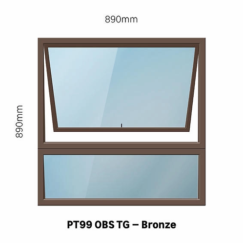 PT99 - OBS Aluminium Window Bronze 890 x 890