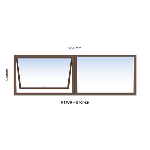 PT186 Aluminium Window Bronze 1790 x 590
