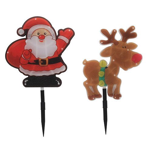 4Pcs LED Santa/Reindeer 1M Garden Stakes Battery Operated