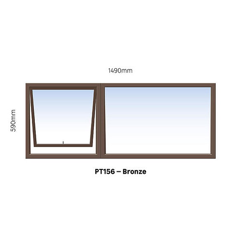 PT156 Aluminium Window Bronze 1490 x 590