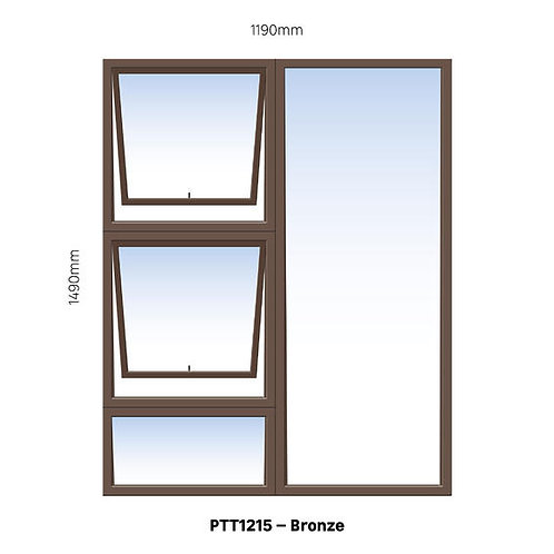PTT1215 Aluminium Window Bronze 1190 x 1490