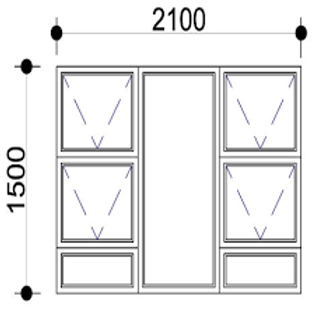 PTTTT2115 Aluminium Window Bronze 2090 x 1490