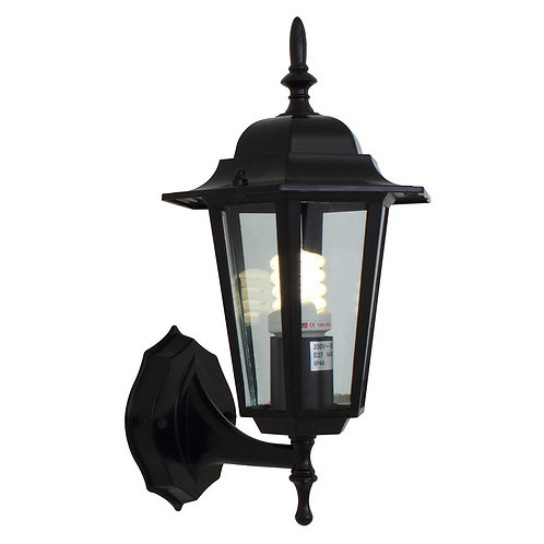 Lantern 6 Panel Up Facing Black