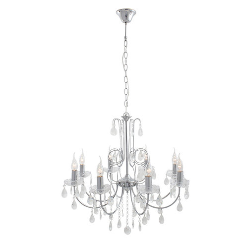 8 Light Crystal Chandelier Chrome Chain Suspension Ex 8Xe14 60W