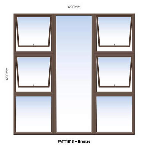 PTTTT1818 Aluminium Window Bronze 1790 x 1790