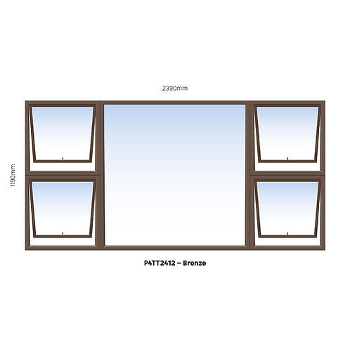 PTTTT2412 Aluminium Window Bronze 2390 x 1190