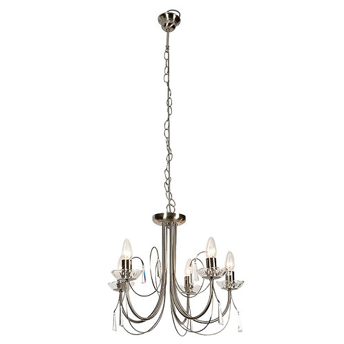 5LT CHANDELIER S/CHROME WITH CLEAR CRYSTALS E14 40W