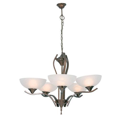CHANDELIER 5LT ALAB.GLASS ANT.BRASS