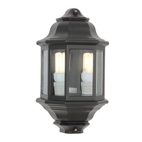 Wall Half Lantern 2 L/Holders Black