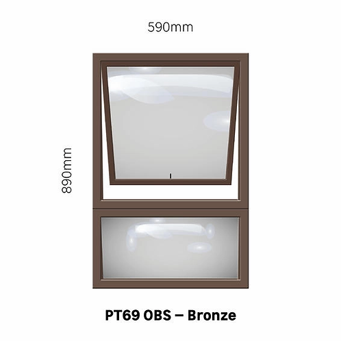 PT69 - OBS Aluminium Window Bronze 590 x 890