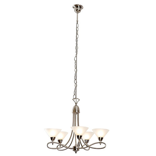 5LT CHANDELIER S/CHROME WITH GLASS SHADES G9 40W (EXCLUDED)